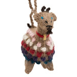 Alpaca knitted goat ornament.