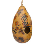 Handcarved Gourd Birdhouse with Bees