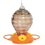 Glass Oriole Feeder w Painted Rings 88042