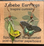 Spicebush Swallowtail Butterfly and Caterpillar Earrings