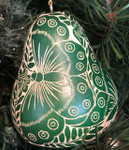 Tropical Butterflies Green Gourd Ornament
