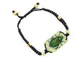 Glowing Colorful Scarab Beetle Bracelet - Real Scarab Beetle Embedded in Lucite YL15GCSBB