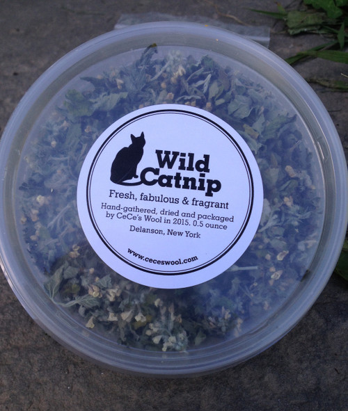 Wild Catnip in .5 ounce plastic tub.