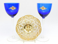 Filigree Bowl and Cobalt Wine Glasses