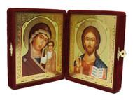 Christ the Teacher and the Virgin of Kazan Velvet Diptych
