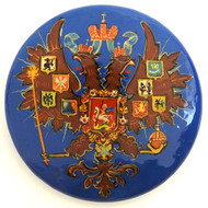 Russian Lacquer Double-Headed Eagle Pin - Blue [Hand Painted]