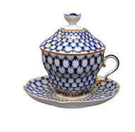 Cobalt Net Teacup and Saucer with Lid