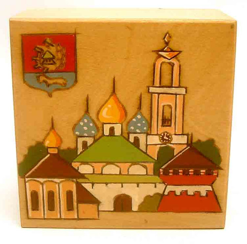 Trinity Monastery with City Coat-of-Arms pokerwork box from Russia