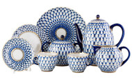 Cobalt Net Coffee Set for Six Persons