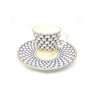 Cobalt Net Bone China Small Cup and Saucer