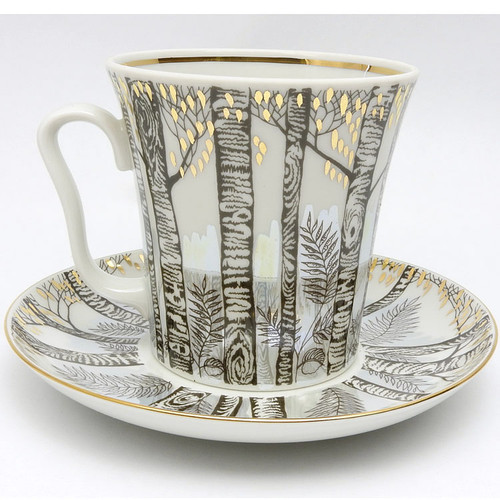 Birch Trees Mug and Saucer by Imperial/Lomonosov St. Petersburg