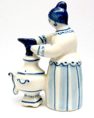 Woman Stoking Samovar with a Boot Gzhel Figure