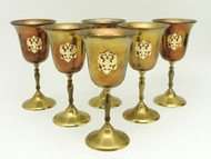 Brass Goblets Russian Double Headed Eagle  - IRAA