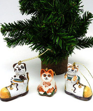 Cats and Dog Majolica Ornaments