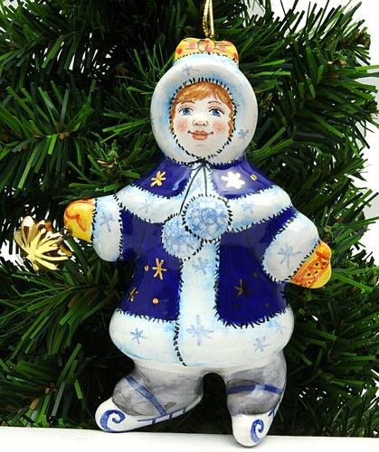 Snow Maiden on Skates Ornament