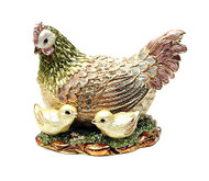 Shaded Enamel Hen with Chicks Jewelry Box
