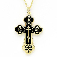 BLACK Enamel Russian Cross with Chain EC