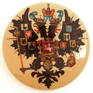 Russian Lacquer Double-Headed Eagle Pin - Beige [Hand Painted]