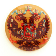 Russian Lacquer Double-Headed Eagle Pin - Button Beige  [Hand Painted]