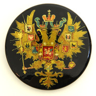 Russian Lacquer Double-Headed Eagle Pin  - Gold  [Hand  Painted]