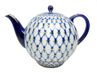 Large Cobalt Net Tea Pot