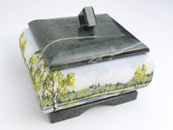 Russian Birches Sand Painted Jewelry Box