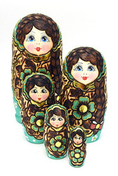 Sergiev Posad Maidens Artistic Carved and Painted Matryoshka Doll