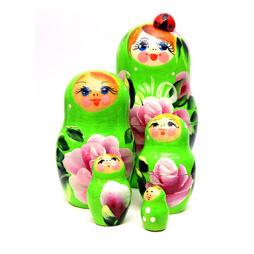 Lime Green Matryoshka with Lady Bug