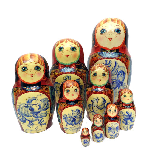 Bluebirds Russian Matryoshka Doll