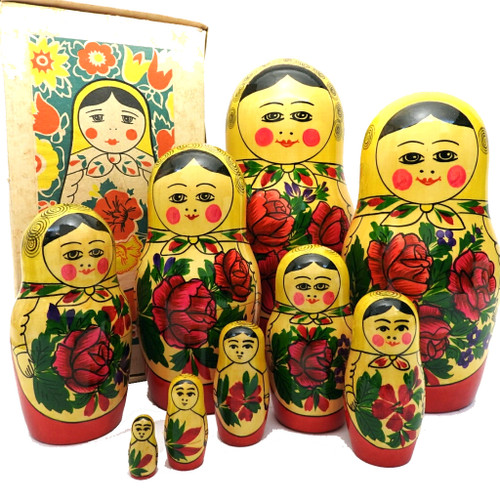 Vintage 9pc Semenov Matryoshka  with box