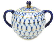 Cobalt Net Sugar Bowl with Lid