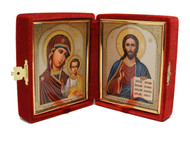 Christ the Teacher and the Virgin of Kazan Red Velvet Diptych
