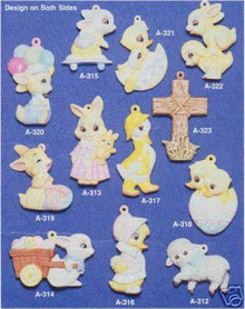 Ceramic molds, Alberta Ornaments 12 Bunnies