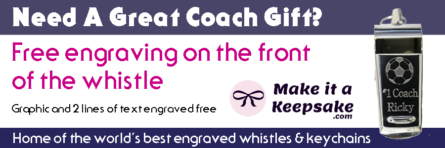 Need A Great Coach Gift?  Free engraving on the front of the whistle.  Graphic and 2 lines of text engraved free.  Home of the world's best engraved whistles & keychains