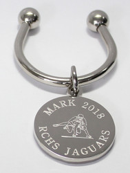 Wrestling Keychain.  Made of non tarnish high quality nickel plate.  Beautifully engraved with wrestling graphic and text arched across the top and bottom.  Makes a great gift for the coach, and an excellent gift for the members of the wrestling team.  Comes with horseshoe shaped keyring, round split ring keyring, engraved disk and boxed in a silver cotton filled gift box.