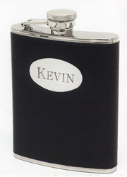 Flask-Personalized Flask Wrapped In Black Leather at Simply Irresistible