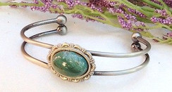 Antique Silver Plated Bracelet with Bloodstone by Imogen Designs