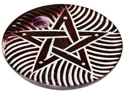 """Brown Soapstone Pentacle Cone and Stick Incense Burner 4"""""""