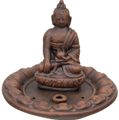 Brown Clay Incense Holder - Medicine Buddha