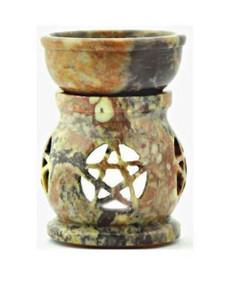 """Pentacle Soapstone Oil Burner Diffuser Aroma Lamp 3.25""""H"""