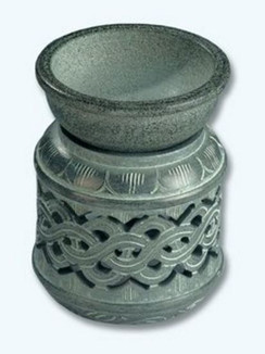 "Celtic Design Soapstone Aroma Oil Lamp/Burner 3"".25H"