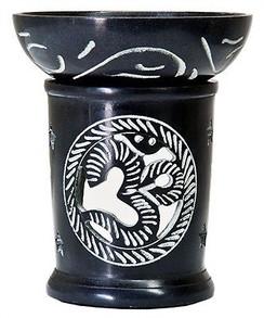 "Black Soapstone OM Burner Diffuser Aroma Lamp 4.5""H"