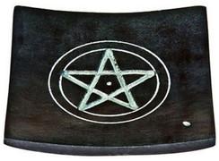 "Black Soapstone Pentacle Incense Burner 4""x 4"""