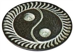 "Black Soapstone Yin Yang Cone Incense Burner 4""D"""