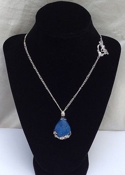 "Blue Howlite Stone Teardrop Pendant on 18"" Silver Plated Chain by Imogen Designs"