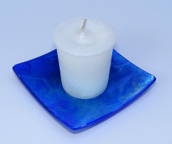 Blue Iridescent Square Glass Candle Holder