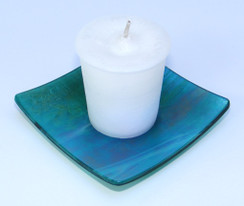 Emerald Green Iridescent Square Glass Candle Holder