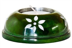 "Green Soapstone Candle Holder 3""D"