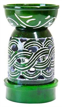 "Green Soapstone Weave Burner Diffuser Aroma Lamp 5""H"