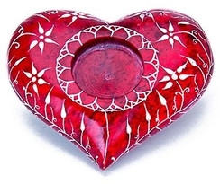"Handmade Floral Carved Heart Cone Tealight Holder 4"" W x 1.5""T"